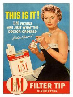 AP2316E - Barbara Stanwyck Cigarette Advert (30x40cm Art Print)