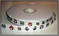 "This listing is for 2 continuous yards of 5/8"" wide white grosgrain/double faced satin ribbon (you choose, just memo which one you'd like when checking out) with Nintendo's Super Mario Brothers charac"
