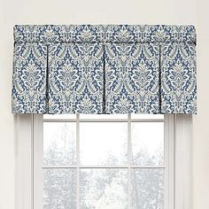 Bring elegance to any window with the Waverly Donnington Damask Box Pleat Cotton Valance. The valance features a classic graphic damask pattern on an elegant ground that instantly bring style to any room in your home. Valance Window Treatments, Kitchen Window Treatments, Custom Window Treatments, Window Coverings, Window Cornices, Box Pleat Valance, Box Pleats, Window Panels, Window Curtains