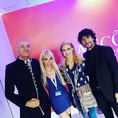Marco Eugenio Di Giandomenico, Samanta Panetta and Cristiana (Little Tony daughter) at the Palafiori. Sanremo Festival 2017 (San Remo, Feb. 11, 2017)