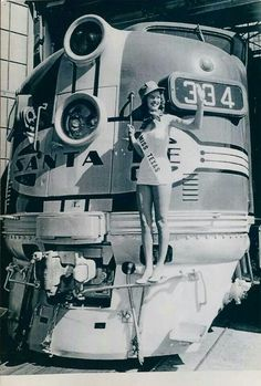 """ATSF #334 - EMD F7 - enjoys the spotlight in a company promo for the """"Texas Chief"""" in 1950."""