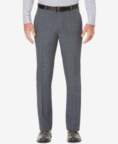 Perry Ellis Men's Slim-Fit Windowpane Plaid Dress Pants