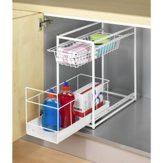 Wire storage baskets. These wire baskets slip neatly into your kitchen cupboards or bathroom cabinets to maximise your storage!Wire storage baskets:Metal structure with a white epoxy finish.Wire storage baskets:2 ingenious and practical sliding baskets!Top basket is for napkins, towels, tea towelsLarger lower basket is for storing bottles, flasks and other larger itemsFixing kit and fittings suppliedSize of metal wire baskets:Overall size:Length: 45cmHeight: 23cmDepth: 45cmUsable size:Small…