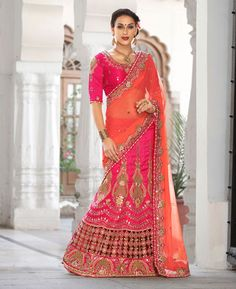 Buy Amazing Pink Party Wear Sarees online at  https://www.a1designerwear.com/amazing-pink-party-wear-sarees-4  Price: $158.08 USD