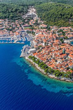 Aerial view of beautiful Korcula in Croatia. Korcula is a must add to your Croatia itinerary. Europe Destinations, Europe Travel Tips, European Travel, Amazing Destinations, Travel Guides, Travel Couple, Family Travel, Croatia Itinerary, Around The World In 80 Days