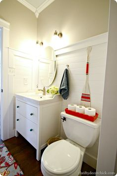 Fantastic bathroom update with great before and afters.  Love the planked walls!