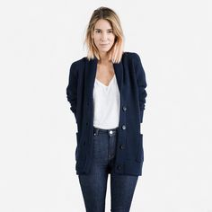 The Chunky Knit Cardigan - Navy – Everlane – Everlane
