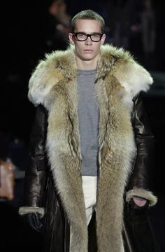 coyote fur lined leather overcoat - manfurs