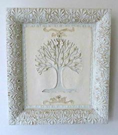 Mixed Media Family Tree Of Life Pearl Shadow Box by Studiomoonny