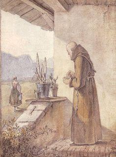 Mönche und Nonnen - Carl Spitzweg (1808 - 1885): Der Klosterbruder. -- 1843.