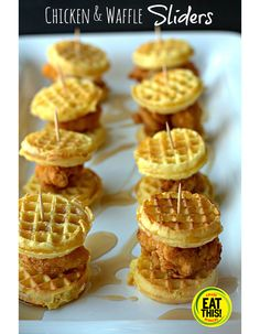 Mini Chicken and Waffle Sliders from Food, Folks and Fun. Both sweet and savory, this classic soul food indulgence combines the taste you crave with portion-controlled goodness. These sliders are a perfect addition to a game day appetizer spread or could even make an appearance at a festive brunch.