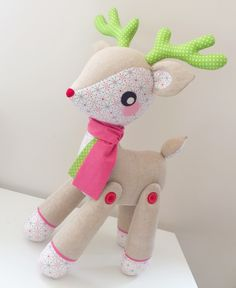 Turn your Darla the Deer softie pattern into a pattern for this horned reindeer with this free download