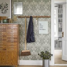 Thistle by Boråstapeter - Green - Wallpaper : Wallpaper Direct Colorful Interiors, Thistle Wallpaper, Interior House Colors, Hallway Storage, Green Wallpaper, House Interior, Floral Wallpaper, Hallway Wallpaper, Textured Wallpaper
