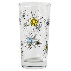 ONE HUNDRED 80 DEGREES Atomic Starburst Sputnik 16 Ounce Drink Glass