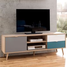 Sorio TV stand in sonoma oak and tricolor with 1 door, 2 drawers and 2 open compartments, stunning looking TV stand is designed to suit any modern living room i Modern Corner Tv Stand, Tv Unit Online, Buy Tv Stand, Simple Tv, Wooden Tv Stands, Sonoma Oak, Tv Furniture, Diy Tv, Australia Living