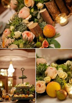 """wooden planter centrepiece, with roses, succulents and other garden style flowers. A """"Wild About"""" design of a river of flowers which flowed over the side of the table, creating a living table runner, bursting with silver moss, enchanting florals with fresh and succulent peaches and figs in a riot of mouthwatering colour and textures."""