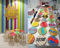 Hand-stencilled stools for the new Royal London Children's hospital | studio myerscough | +44 (0)20 7729 2760