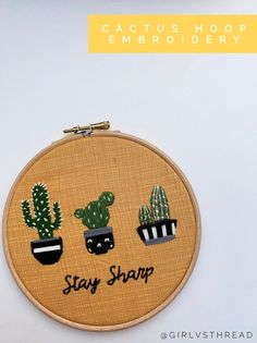 Stay Sharp Cactus Embroidered Hoop - Funny Embroidery Hoop Art - Succulent Embroidery - Cactus Wall Art - Pun Embroidery Funny Embroidery, Cactus Embroidery, Wooden Embroidery Hoops, Embroidery Hoop Art, Art Puns, Cactus Wall Art, Glue Crafts, Needlework, Succulents