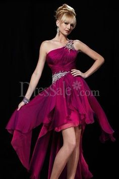 Outstanding One Shoulder A-line Prom Dress with Delicate Applique $113.99