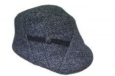 Karen Henriksen - Portland cap in Grey Linton Tweed cap with button decoration