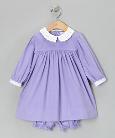 Take a look at this Lavender Corduroy Dress & Bloomers - Infant by Petit Pomme on #zulily today!