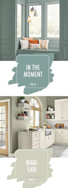 In the Moment and Wabi-Sabi, from the 2018 BEHR Color Trends. When paired with neutral accent colors, these paint shades create a calming feel that's perfect for bringing a sense of mindfulness into your home. Room Paint Colors, Paint Colors For Home, House Colors, Home Paint, Wall Painting Colors, Calming Paint Colors, Green Paint Colors, House Painting, Diy Painting