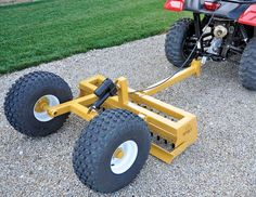HOELSCHER Some tools just make you want to go out and work some ground. Looking every bit like a scaled down version of major construction equipment, the Hoelscher lineup does that to us! Farm Projects, Welding Projects, Outdoor Projects, Garden Tractor Attachments, Atv Attachments, Atv Racks, Homemade Trailer, Diy Driveway, Utility Trailer