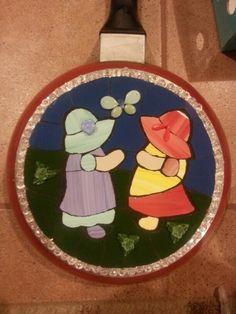 Mosaic Sun bonnet sue on a pan, by Iris Bello