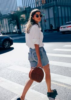Neutral Basic 3: Blouse // How to style a white button down, classic white shirt, chic looks, cute outfit ideas for work, wicker bag, straw bag, loafers, gucci belt, how to style shorts