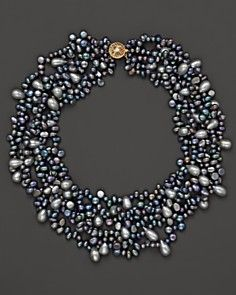 'black pearl cluster necklace