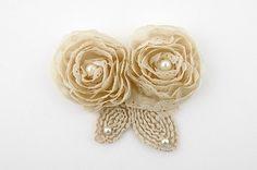 Eyelet Pearl chiffon Flower motif  Beige120mm by prettyribbon, $6.65