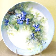 china painting,art, foliage on Pinterest | COOL Blueberries | ARTchat - Porcelain Art Plus (formerly Chatty ...