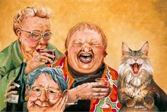 COURTESY IMAGE Group Purr-trait   'Party Cats,' paintings by Shelly Wilkerson, are on display through Sept. 10 at the Amy Burnett Gallery, 402 Pacific Ave. in Bremerton. Sales during the show benefit the Kitsap County Humane Society's cat program. Information: (360) 373-3187.