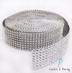 "Silver Diamond Mesh Wrap Roll Rhinestone Crystal Ribbon 1.5"" x 10 yards Craft And Party http://smile.amazon.com/dp/B00BMUTXUA/ref=cm_sw_r_pi_dp_6zlAvb0A1PPQP"