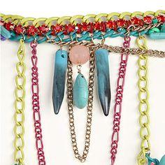 Turquoise multicolored body chain - jewelry - sale - women