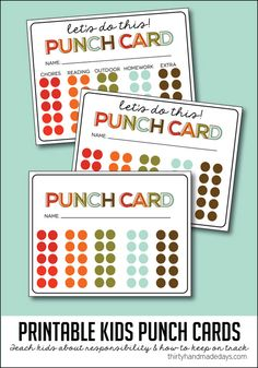 """Printable kids punch card - thinking about making these for making """"giood choices."""" When the punch card is filled up, they can choose a special activity from popsicle stick jar."""