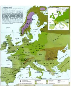 Map of post glacial Europe shows human settlements and environmental zones of Europe ca. 9000 years ago.