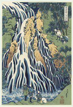 Hokusai (1760 - 1849) Kirifuri Waterfall   Japanese Woodblock   Reprint   H/T http://fromthefloatingworld.tumblr.com/archive