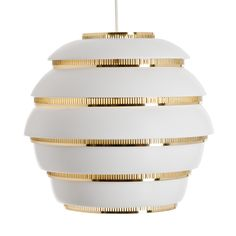 For Sale on - Alvar Aalto 'Beehive' pendant light for Artek in white and brass. Designed in 1953 and produced by its original manufacturer, Artek of Finland. Brass Ceiling Lamp, White Brass, Lamp, Ceiling Lights, Ceiling Lamp Design, Pendant Lamp, Lighting Ceiling Lamp, Pendant Light, Artek