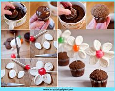 Yummy marshmallow Flower cupcake idea! | creativity style