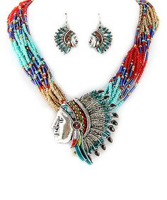 This Silver Multi-Color Tribal Necklace & Earrings by MOA International Corp is perfect! #zulilyfinds