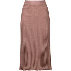 Prada plisse midi skirt ($880) ❤ liked on Polyvore featuring skirts, pink, calf length skirts, brown skirt, prada, midi skirt and prada skirt