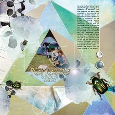 RENESSE LEFT: Me and my bff on a camping trip (leftpage of a spread)  I made this page with Summary from Jen Maddocks, available at Digital Scrapbooking Studio here: http://www.digitalscrapbookingstudio.com/jen-maddocks-designs/ Also used: Quilt Templates 10 by Jen Maddocks at Digital Scrapbooking Studio.