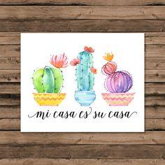 Mi Casa Es Su Casa Print Spanish Quote Print by mermaiddesignco