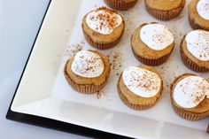 Mini pumpkin pie tarts. Serve these up after you're finished gorging on turkey and faux-tatoes. #paleo #glutenfree from @bethmanos tasty-yummies.com