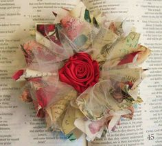 Handmade Love Letters Cotton Print Fabric with Red Rose Center Hair Clip or Brooch Pin Corsage- Shabby Chic - Valentines Day Accessory on Etsy Shabby Chic Flowers, Faux Flowers, Diy Flowers, Fabric Flowers, Paper Flowers, Fabric Flower Tutorial, Bow Tutorial, Flores Diy, Fabric Crafts