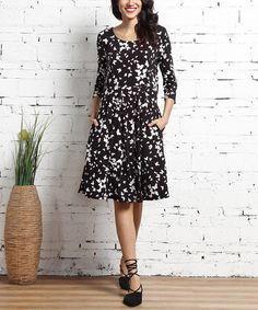Look what I found on #zulily! Black Butterfly Fi t & Flare Pocket Dress #zulilyfinds