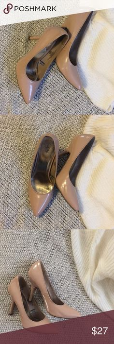 Vivian Pointy Heels - Beige Shiny Beige pumps. Small scratch on right shoes ( near toe area - see pics) + some wear on soles. Worn a several times, but still have a lot of life left. Simply adorable beige heels! 👠 Shoes Heels