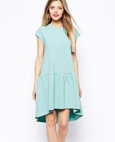 Green Short Sleeve Dropped Waist Shift Dress