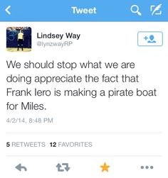Lindsey Way | tweet about Frank Iero and his awesome dad powers :)